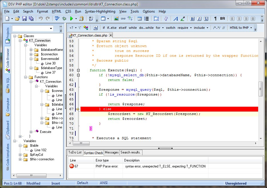 DSV PHP Editor full screenshot