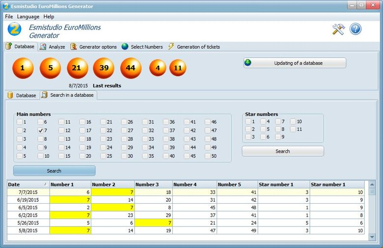 Esmistudio EuroMillions Generator Screen shot